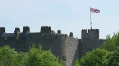Chirk Castle and Flag Stock Footage
