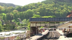 Llangollen Station and River Stock Footage