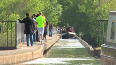 Canal Barge Crossing Pontcysylite Aqueduct Stock Footage