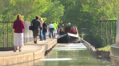 Barge Crossing Pontcysylite Aqueduct Stock Footage