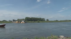 Ferry and boats on the IJssel Stock Footage