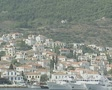 Buildings on a Spetses hillside as seen from the sea Footage