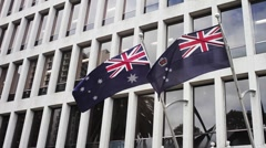 Australian Flags on Building Stock Footage