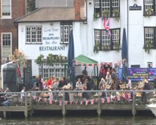English Riverside Pub Stock Footage