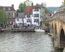 Bridge, Pub and Boat Stock Footage
