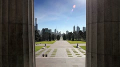 Melbourne Skyline from the Shrine of Remembrance Stock Footage