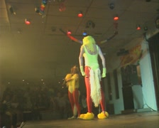 Two women in costume doing funny performance on stage Stock Footage