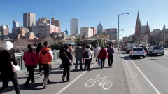 Pedestrians Walking over Princess Bridge, Melbourne Stock Footage