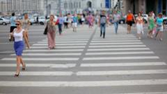 Pedestrians cross the street. Timelaps Stock Footage