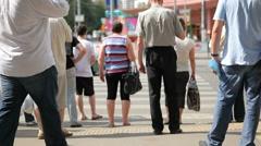 Pedestrian crossing : urban people cross the street Stock Footage
