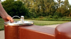 Water fountain in park dolly shot Stock Footage