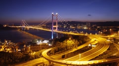 Tsing Ma Bridge at night - zoom in Stock Footage