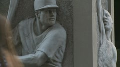 Close up Baseball statue, NYC Stock Footage