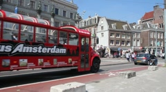 Tourist Bus in Amsterdam Stock Footage