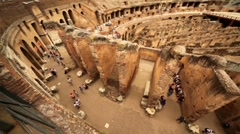 Walkway around Colosseum arena and walls divide it Stock Footage