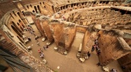 Stock Video Footage of Walkway around Colosseum arena and walls divide it
