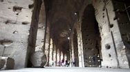 Stock Video Footage of Colosseum corridor inside, tourists walk along