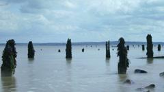 Sea Tide groynes time lapse Stock Footage