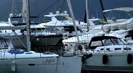 Stock Video Footage of Luxury yachts docked in the marina