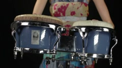 Alba04afemale percussion drummer performing with bongos Stock Footage