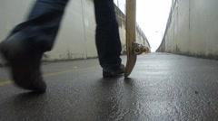 Urban Skateboarder Walking Away - stock footage