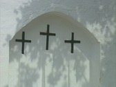Zoom out from church window to whole of church Stock Footage