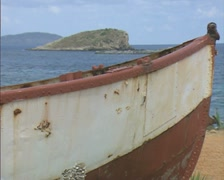 Stock Video Footage of Close up of nose of rusting boat