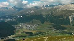 Paraglider at Muottas Muragl, Switzerland Stock Footage