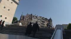 Brussels stairs at Kunstberg Stock Footage