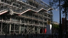 Famous Centre Georges Pompidou in the Beaubourg area in Paris Stock Footage