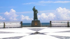 Puerto Rico - Statue at Oceanfront observation deck in front of Capitol Building Stock Footage