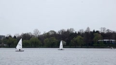 Sailing Boats in a Park Lake, Yachting, Competition, Cloudy Day, Water Sport Stock Footage