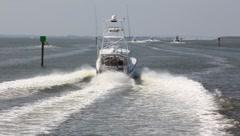 Deep sea fishing boats Stock Footage