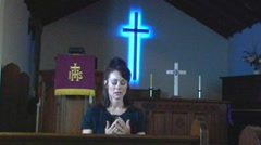 Woman Praying In Church 1 Stock Footage