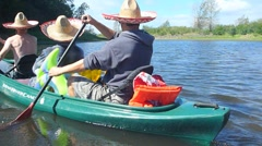 The Three Canoers Time Lapse Away Stock Footage