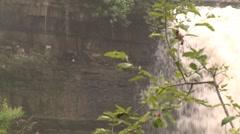 Minnehaha Falls and mist pull back Stock Footage