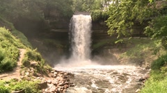 Minneahaha Falls and mist from bottom Stock Footage