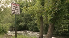Danger Falls Ahead Stock Footage
