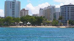 Puerto Rico-View of Condado Beach and skyline Stock Footage