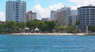 Stock Video Footage of Puerto Rico-View of Condado Beach and skyline
