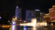 Stock Video Footage of Part 6 - Bellagio Las Vegas water fountain show at night