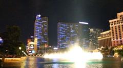 Part 8 - Bellagio Las Vegas water fountain show at night Stock Footage