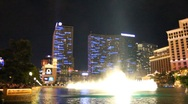 Stock Video Footage of Part 8 - Bellagio Las Vegas water fountain show at night