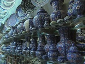 Close up of blue pottery in shop Stock Footage