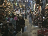 Busy passage in indoor shopping market Stock Footage
