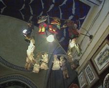 Shot of hanging decorations around light Stock Footage