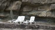 Empty deck chairs Stock Footage