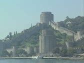 View of Ottoman castle from rear of passing boat Stock Footage