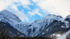Snow Mountains Clouds TimeLapse - stock footage