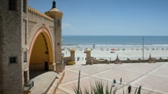 Bandstand shell entertainment area on Daytona Beach Stock Footage